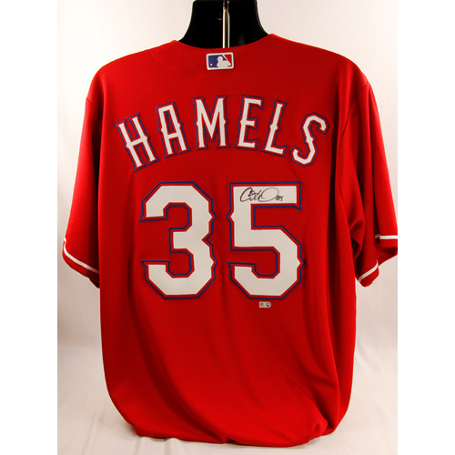 Photo of Cole Hamels Red Autographed Jersey
