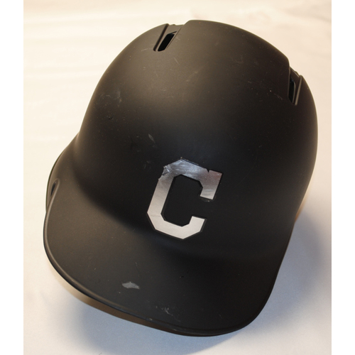 "Photo of Mike ""Waldo"" Freeman Cleveland Indians Game-Used 2019 Players' Weekend Helmet"