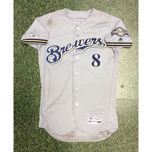 Photo of Ryan Braun 2019 Game-Used Road Grey Jersey