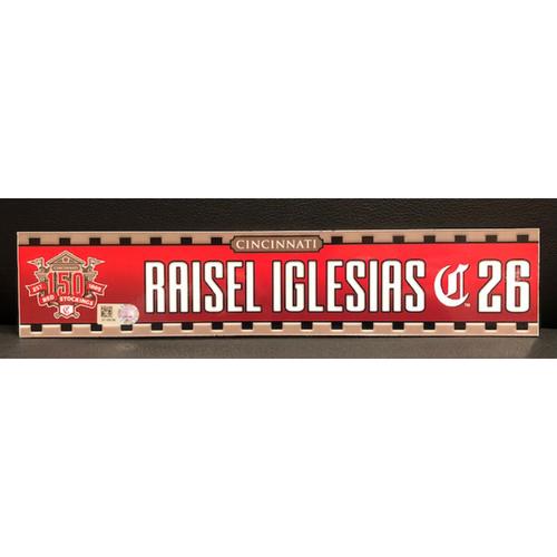 Photo of Raisel Iglesias -- Game-Used 2019 Regular Season Locker Tag