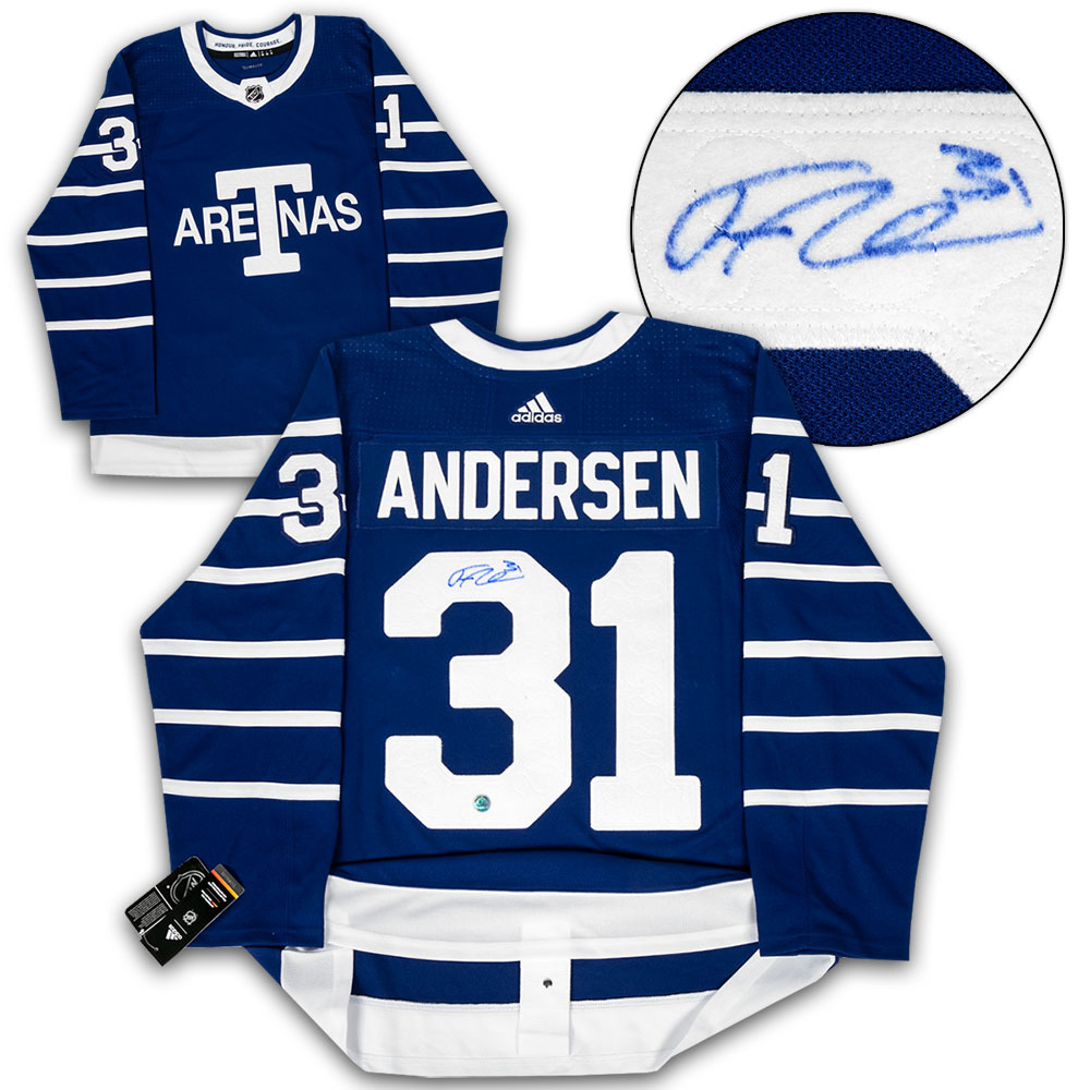 Frederik Andersen Toronto Arenas Signed Leafs Next Century Game Adidas Authentic Hockey Jersey