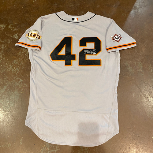 Photo of 2020 Jackie Robinson Day Jersey - Team Issued & Autographed - #35 Brandon Crawford - Size 48