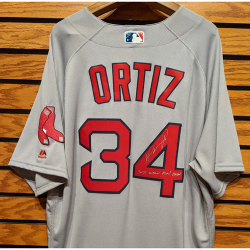 Photo of David Ortiz #34 Autographed Game Used Road Gray Jersey