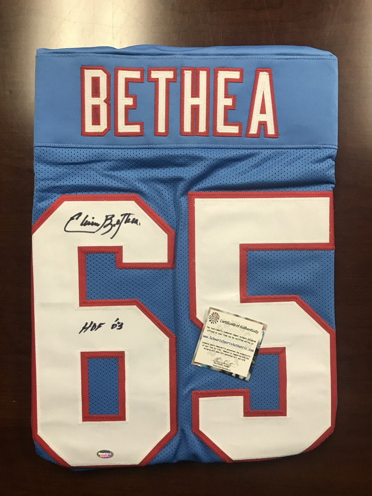 PCC - Oilers Elvin Bethea Signed Jersey w/ Inscription (benefitting the Marty Lyons Foundation)