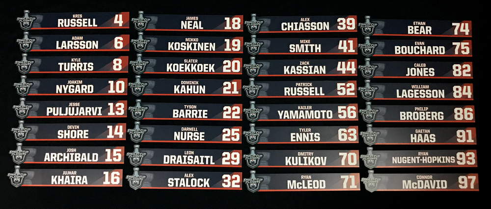 Complete Set of 32 Edmonton Oilers Locker Room Stall Nameplates Used During The 2020-21 NHL Play-offs For Road Games