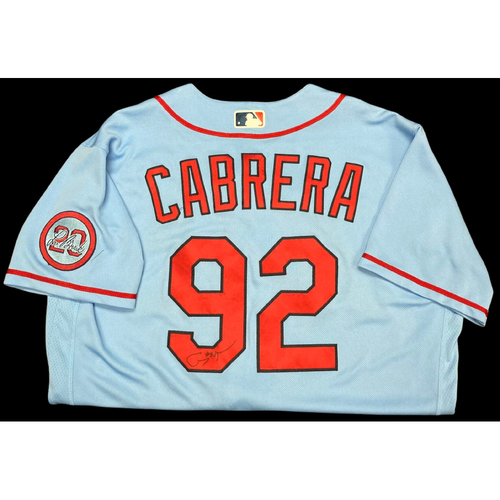 Photo of Génesis Cabrera Autographed Team Issued Road Alternate Jersey w/ Lou Patch (Size 46)