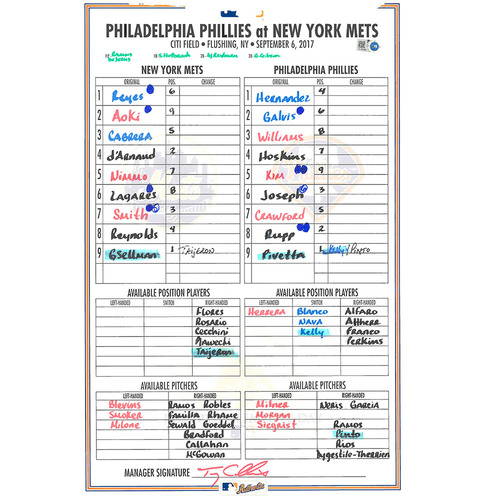 Game Used Lineup Card - Gsellman Start, Complete Game 6 IP, 2 ER, 4 K; Earns 6th Win of 2016 - Mets Win 9-3 - Mets vs. Phillies - 9/6/17