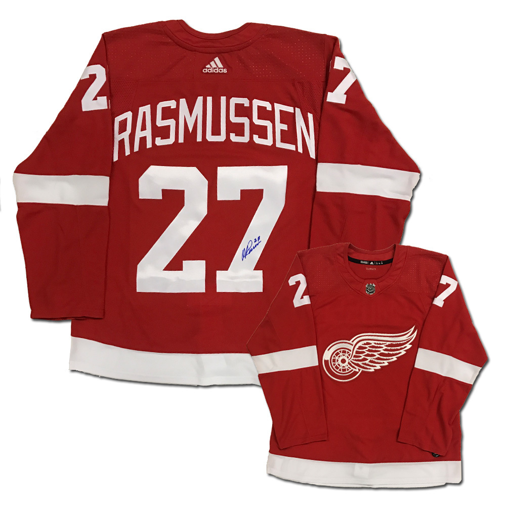 MICHAEL RASMUSSEN Signed Detroit Red Wings Red Adidas Jesery