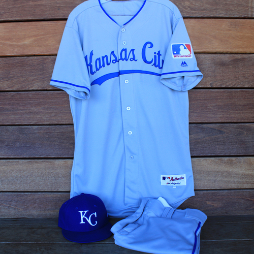 Photo of Game-Used 1969 Throwback Jersey, Pants and Cap: Cheslor Cuthbert (Jersey Size 44 - KC @ WSH  - 7/6/19)