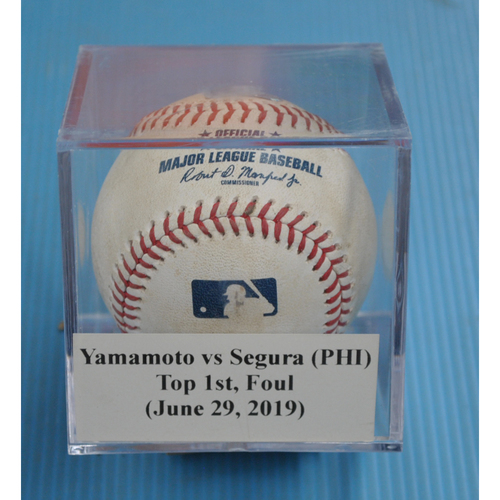 Photo of Game-Used Baseball: Jordan Yamamoto vs Jean Segura (PHI), Top 1st, Foul (June 29, 2019)