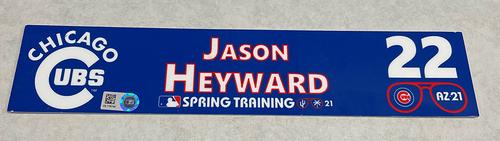 Photo of Jason Heyward 2021 Spring Training Locker Nameplate