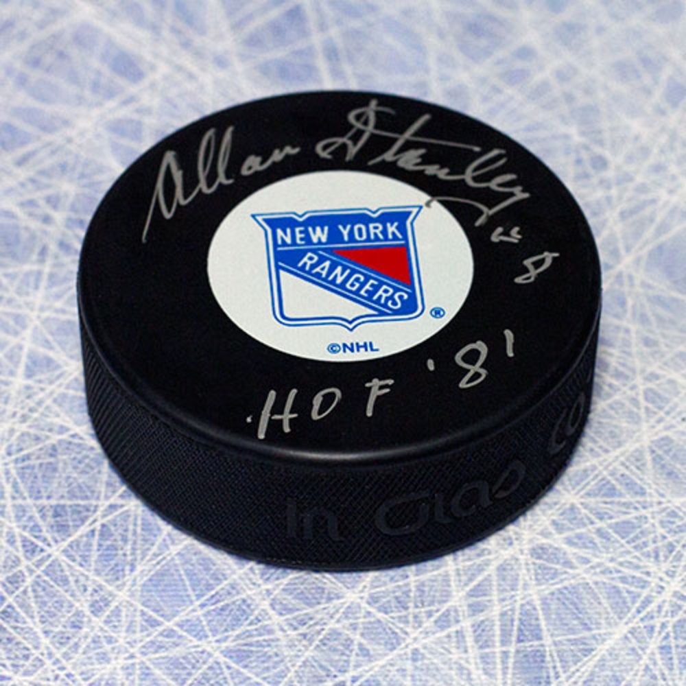 Allan Stanley New York Rangers Autographed Hockey Puck with HOF Inscription