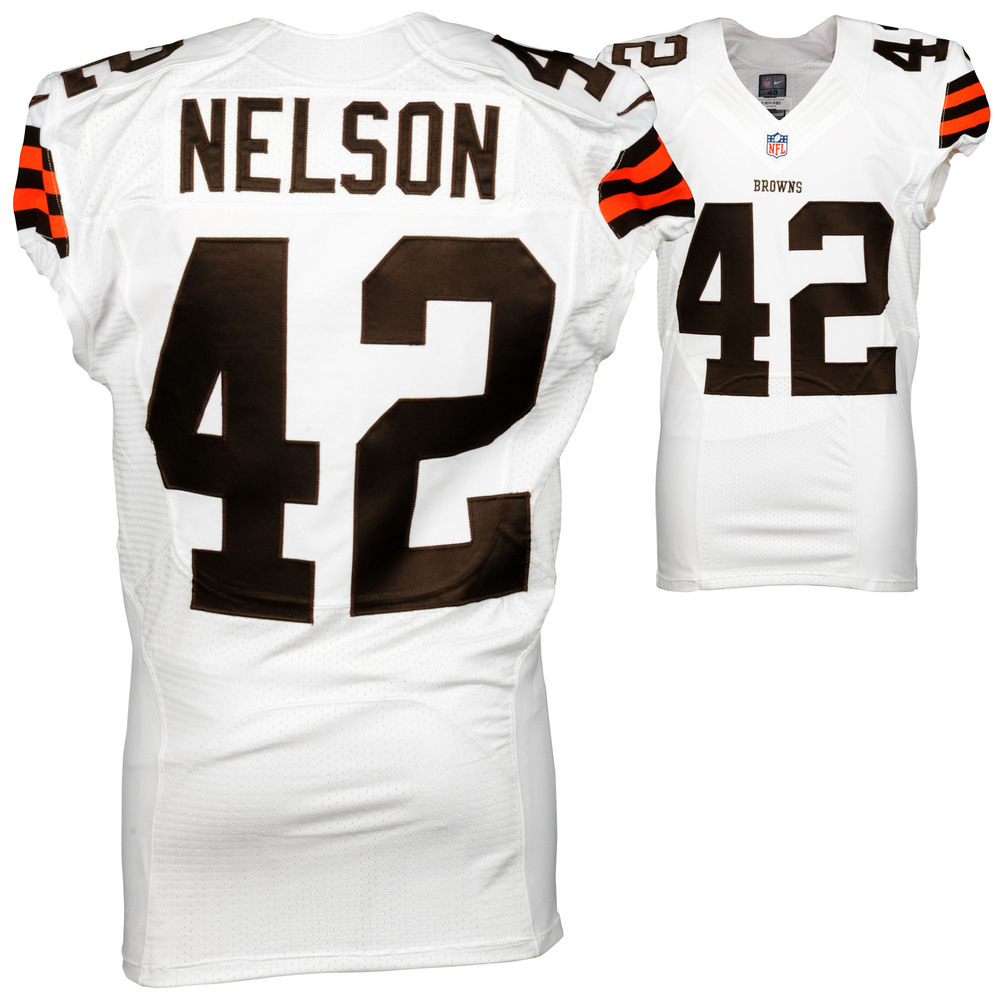 Robert Nelson Cleveland Browns Game Used White #42 Jersey from the 2014 Season