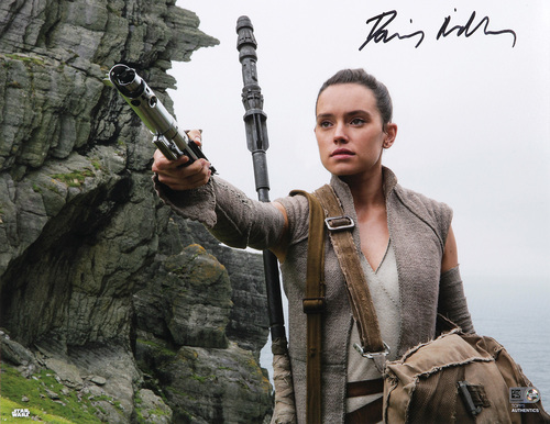 Daisy Ridley as Rey Autographed In Black Ink 11x14 Photo