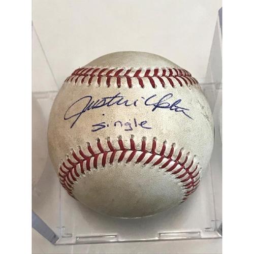 Photo of Autographed Game-Used Baseball: Justin Upton Single