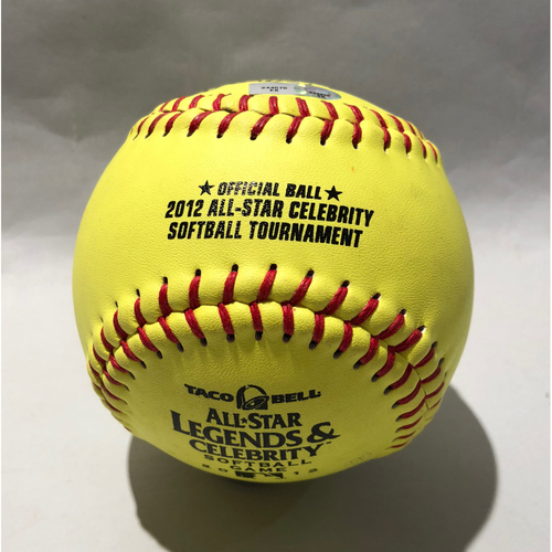 Photo of 2012 All Star Legends & Celebrity Softball Game-Used Softball: Pitcher: Jennie Finch, Batter: Chord Overstreet (HR)