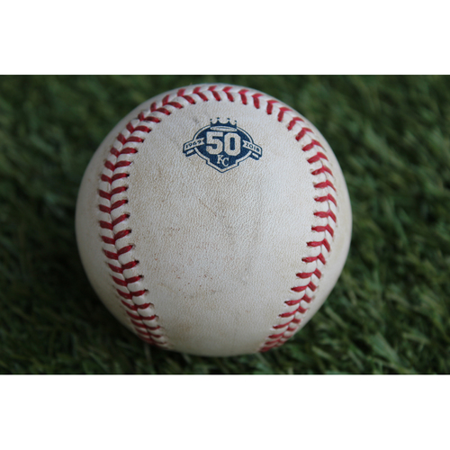 Photo of Game-Used Baseball: Greg Allen Career Double & 18th and 19th Career RBIs (CLE @ KC - 8/26/18)
