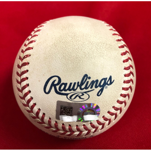 Photo of Scooter Gennett Double & Jose Peraza Double on Same Baseball -- Game Used -- 07/28/2018 -- PHI vs. CIN -- Davis to Peraza (2B), 20th 2B of 2018; to Gennett (2B), 23rd 2B of 2018