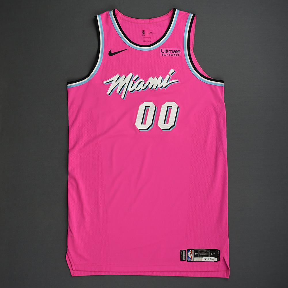 Yante Maten - Miami Heat - 2018-19 Season - Game-Worn Pink Earned Edition Jersey - Dressed, Did Not Play