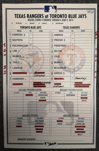 Photo of Authenticated Game Used Lineup Card - June 9, 2013 vs TEX: Adrian Beltre Home Run game