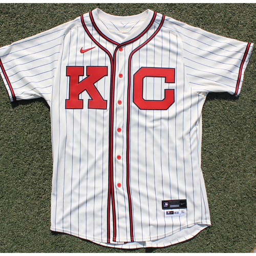 Photo of Autographed/Game-Used Monarchs Jersey &Team-Issued Pants: Kyle Zimmer #45 (STL @ KC 9/22/20) - Size 46