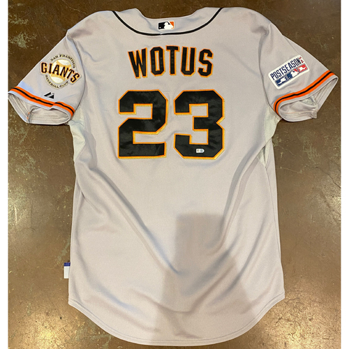 Photo of 2014 Postseason Game Used Road Jersey used on 10/1 @ PIT (NL Wild Card Game) & 10/11 (NLCS Game 1) @ STL worn by #23 Ron Wotus - Size 48