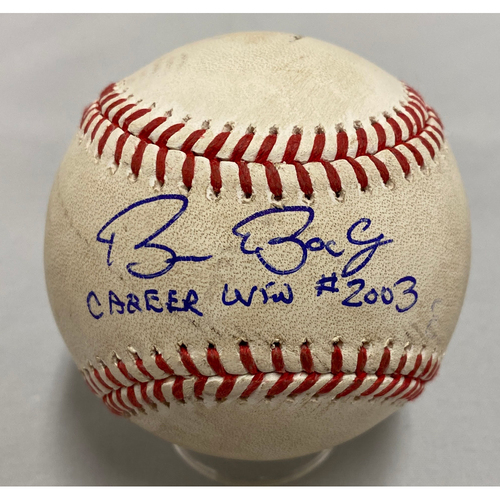 "Photo of 2020 Cyber Monday Sale - 2019 Autographed & Inscribed Game Used Baseball signed and inscribed ""Career Win #2,003"" by #15 Bruce Bochy"