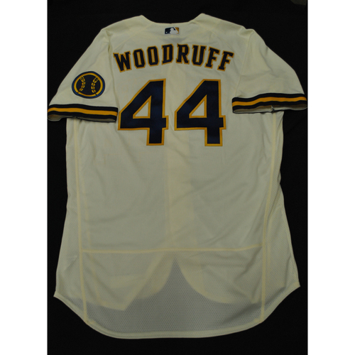 Photo of Hank Aaron Chasing the Dream Foundation: Brandon Woodruff 2021 MLB All-Star Workout Day BP-Worn # 44 Jersey