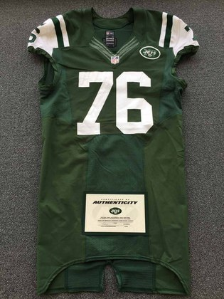 Hot NFL Auction | New York Jets 2015 #76 Wesley Johnson Game Worn Jersey  for cheap
