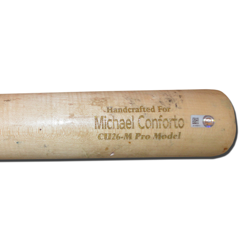 Photo of Michael Conforto #30 - Team Issued Cracked Bat - Beige Marucci Model - 2018 Season