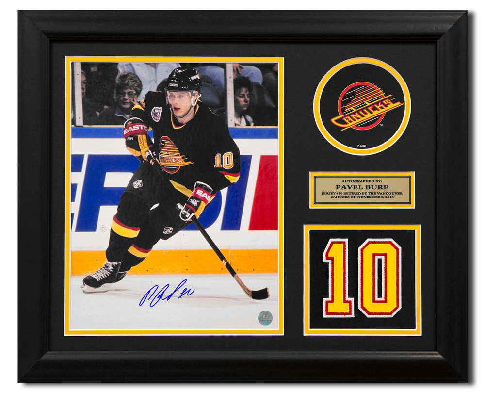 Pavel Bure Vancouver Canucks Signed Retired Jersey Number 23x19 Frame