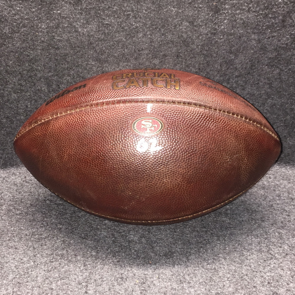 CRUCIAL CATCH - 49ERS GAME USED FOOTBALL W/ CRUCIAL CATCH LOGO AND TEAM LOGO (OCTOBER 2017)