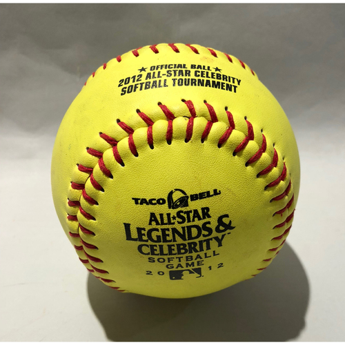 Photo of 2012 All Star Legends & Celebrity Softball Game-Used Softball: Pitcher: Rollie Fingers, Batter: Dave Winfield (HR)