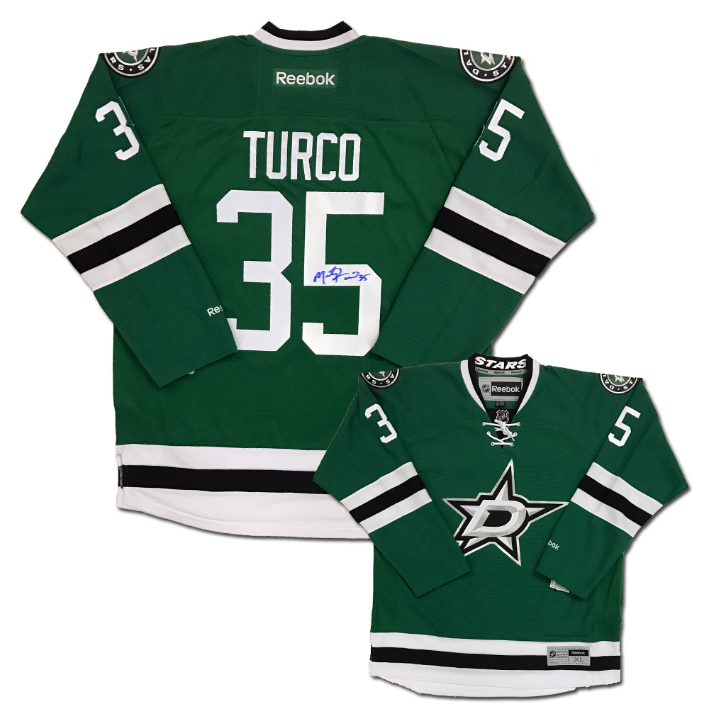 MARTY TURCO Signed Dallas Stars Green Reebok Jersey