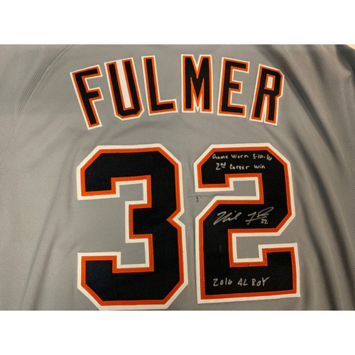 Photo of Autographed Game-Used Road Jersey: Michael Fulmer- 2nd Career Win