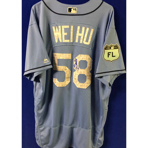 Photo of 2017 Spring Training Team-Issued Autographed Jersey: Chih-Wei Hu