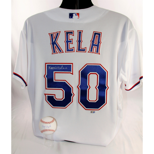 Photo of Keone Kela Package - Autographed Baseball and White Team-Issued Jersey