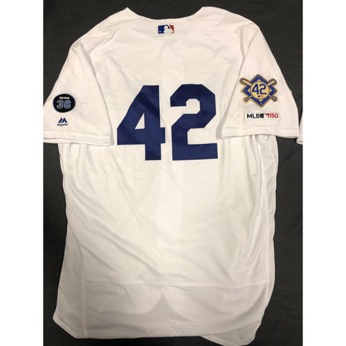 Photo of 2019 Game Used Home #42 Jersey worn by #64 Pitcher Caleb Ferguson on 4/15 Jackie Robinson Day against Cin. Dodgers 4-3 victory against Cincinnati. Size-48