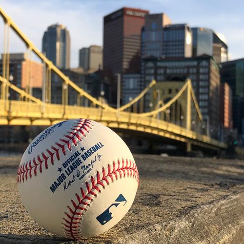 Photo of Game Used Baseball: Pitcher: Walker Buehler, Batter: Josh Bell (Double) - Bottom 4 - 5/24/2019 vs. Dodgers
