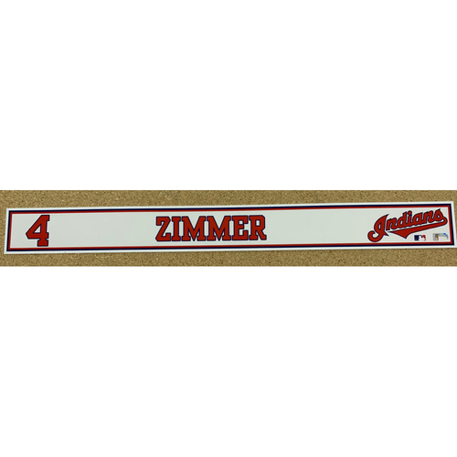 Photo of Bradley Zimmer 2020 Spring Training Game-Used Locker Name Plate