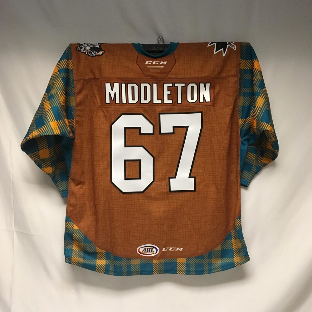 2019-20 San Jose Barracuda 'Cuda Country Night Jersey Issued to #67 Jacob Middleton