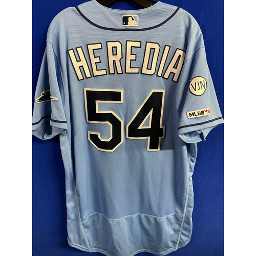 Photo of Game Used Columbia Blue Jersey: Guillermo Heredia - March 31, 2019 v HOU