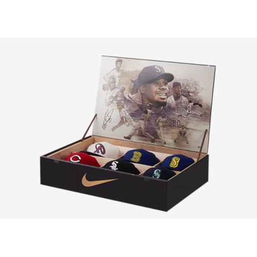 Photo of Nike Ken Griffey Jr. Hall Of Fame Cap Box Set Features Six Unique Caps and Autographed By Ken Griffey Jr