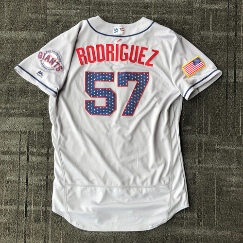 Photo of San Francisco Giants - 2018 Game-Used Stars & Stripes Jersey worn by #57 Dereck Rodriguez - Size 46