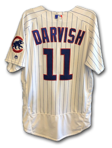 Photo of Yu Darvish Game-Used Jersey -- 7/12 vs. PIT (6 IP, 0 ER 8 K); Also Worn 6/21 vs. NYM (6 IP 4 ER, 6 K); Also Worn 6/5 vs. Rockies (5.1 IP, 2 ER, 5 K) -- Size 46