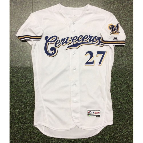 Photo of Zach Davies 2019 Game-Used Cerveceros Jersey