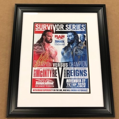 Photo of Drew McIntyre, Roman Reigns, and Paul Heyman SIGNED and Framed Survivor Series Fight Card (Random Number)