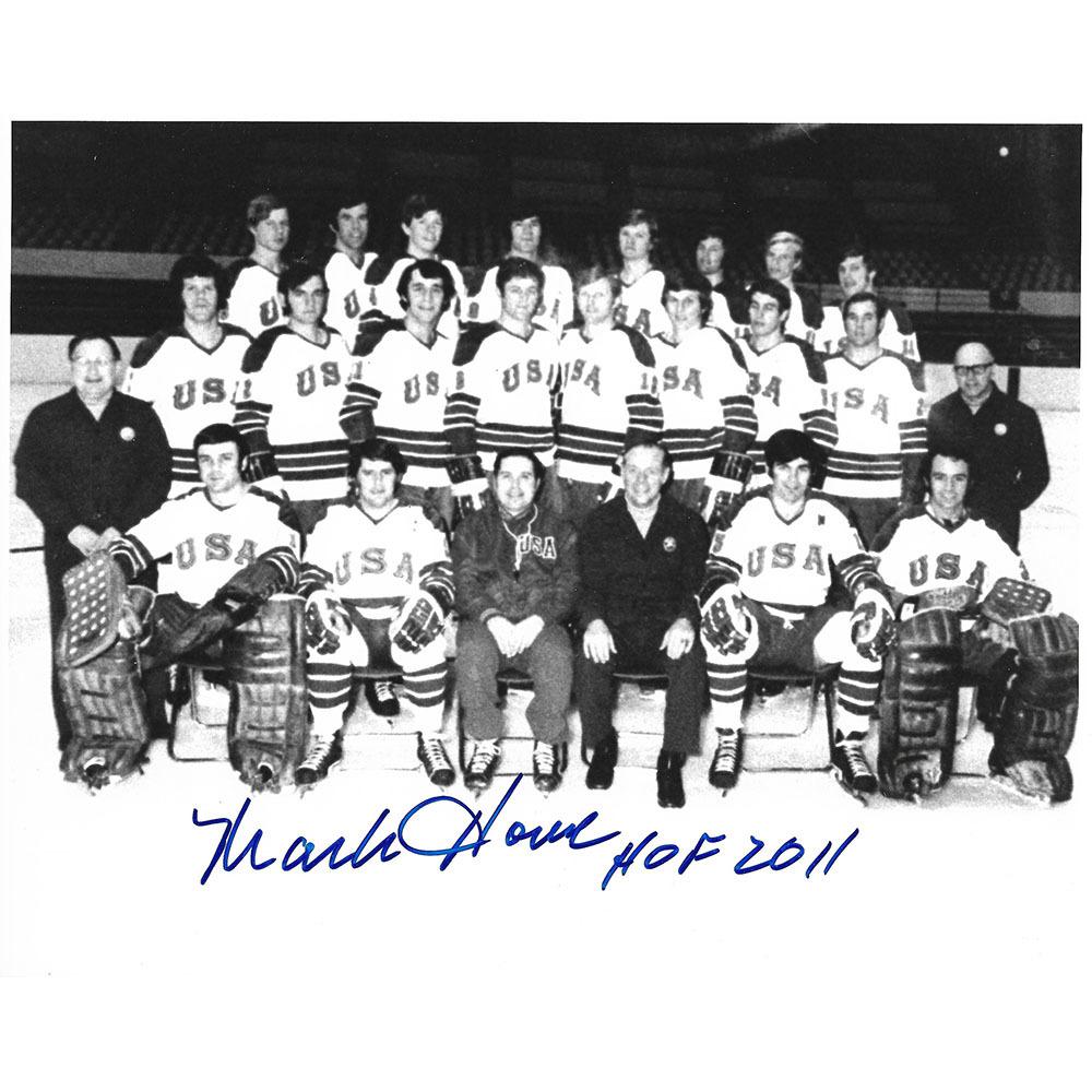 Mark Howe Autographed 1972 Team USA 8X10 Photo w/HOF 2011 Inscription