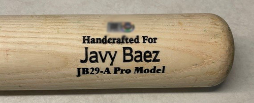 Photo of Javier Baez Game-Used Cracked Bat -- Trevor May to Javier Baez, Single, Bot 7 -- Mets vs. Cubs -- 4/22/21