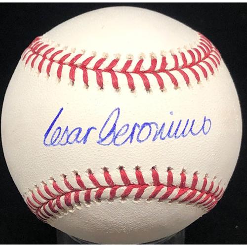 Photo of Cesar Geronimo - Autographed Official Major League Baseball